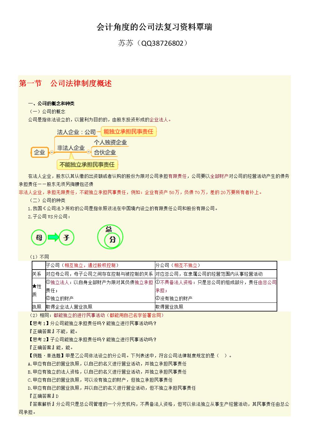 会计角度的公司法复习资料覃瑞.docx