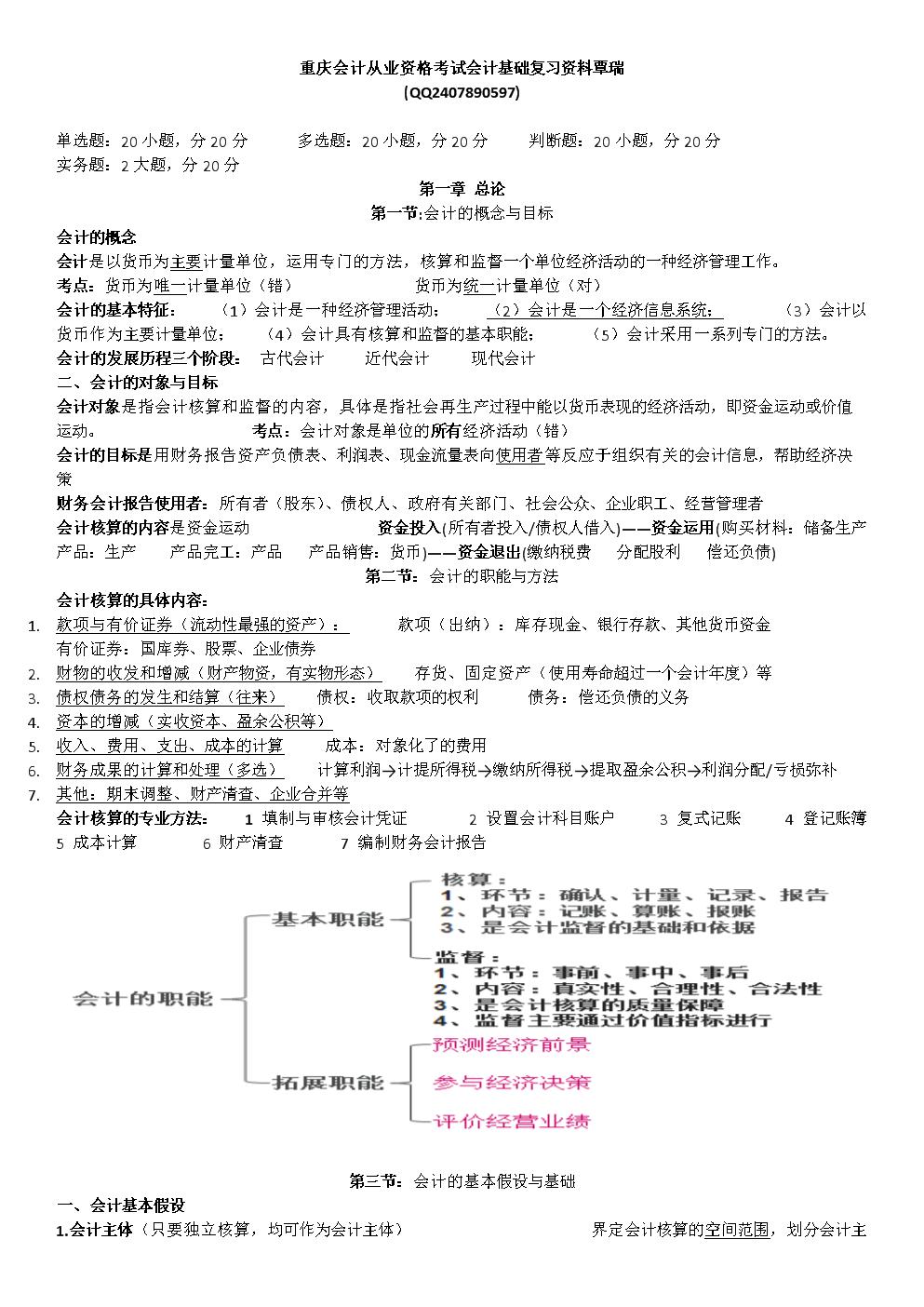 重庆会计从业资格考试会计基础复习资料覃瑞.docx