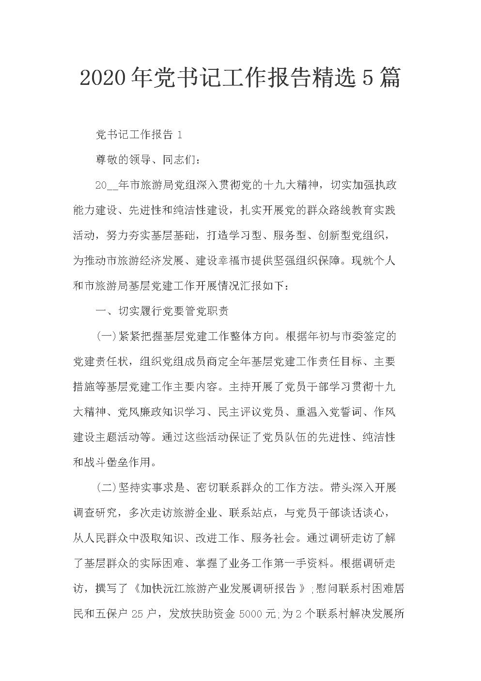 2020年党书记工作报告精选5篇.docx
