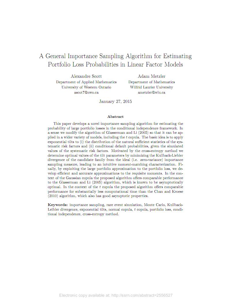 A General Importance Sampling Algorithm for Estimating Portfolio Loss Probabilities in Linear Factor Models 线性因子模型中投资组合损失概率估计的一般重要性抽样算法.pdf