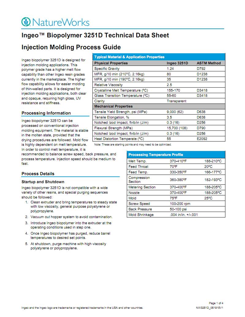 美国NatureWorks PLA 3251D英文物性表(生产商提供) pdf 文档全文预览