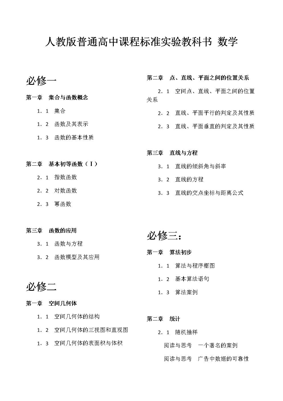 (人教版)高中数学教材最新目录.docx