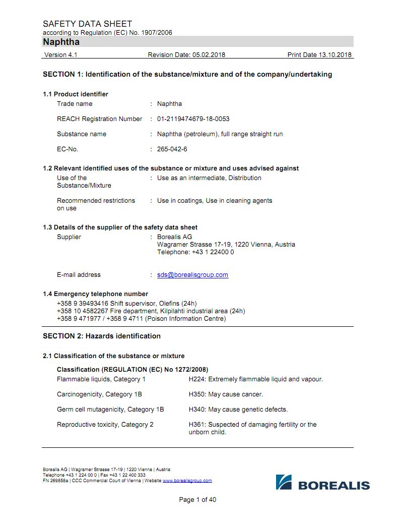 北欧化工PE NAPHTHA-MSDS报告英文 pdf-全文可读